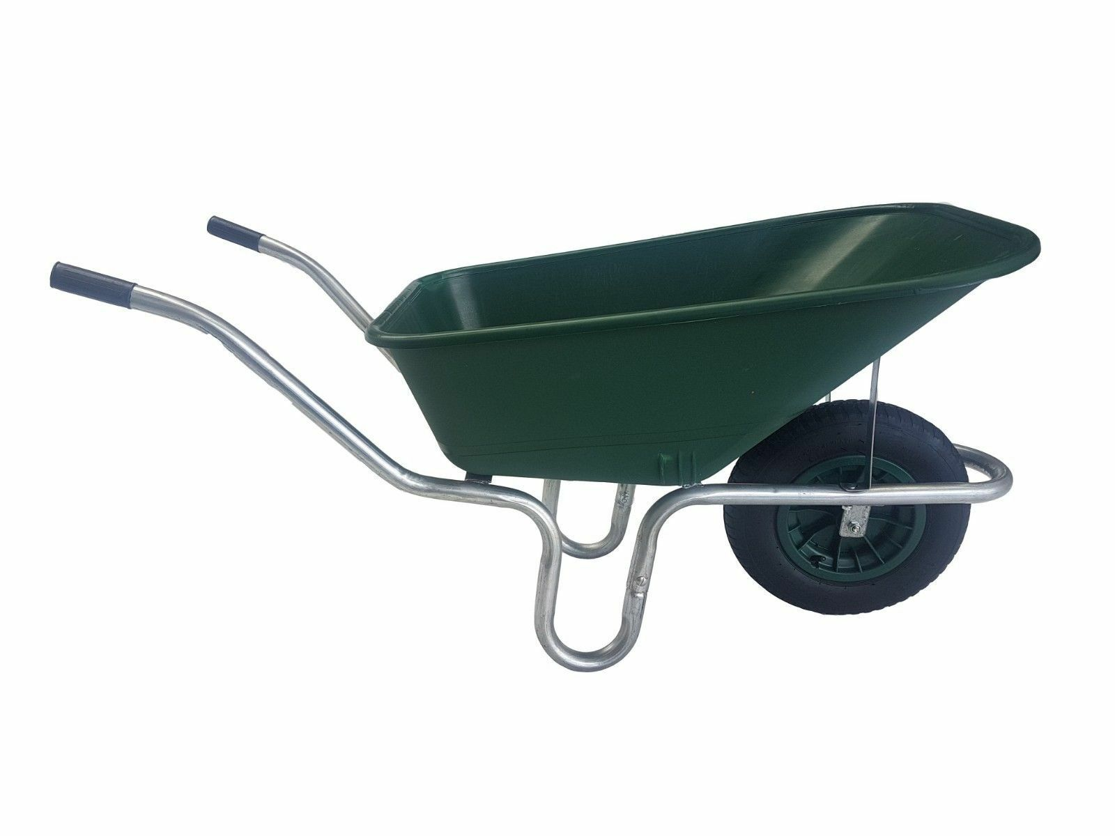 LARGE 110 LITRE WHEELBARROW WITH 14  PUNCTURE PROOF WHEEL - GREEN