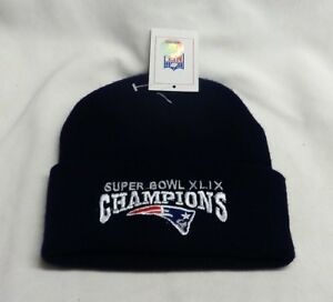 New-England-Patriots-SuperBowl-49-Champions-BLUE-Winter-Knit-Hat-Beanie-Cuffed