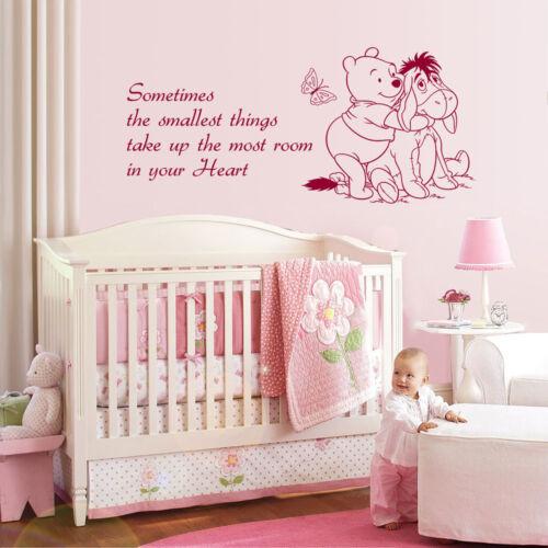 WINNIE THE POOH WALL STICKER ART LARGE QUOTE KIDS BEDROOM BABY NURSERY DECORATIO