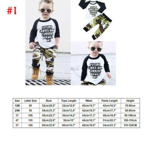 US Toddler Kids Baby Boy Winter Autum Clothes T-shirt Tops+Long Pant Outfit Set