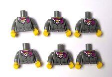Lego 6 Female Girl Torso Body For Minifigure Figure Grey Suit Jacket Neck Scarf