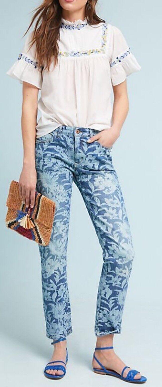 Anthropologie Pilcro Mid-Rise Slim Boyfriend bluee Floral Print Jeans 32-33 NEW