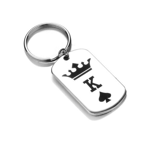 Details about  /Simple Lover Keyring Couple Keychain Charms Gift 1pc Chic King Queen Pendant CO