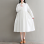 Womens-A-Line-Pleated-Cotton-Linen-Shirt-Dress-Thin-Long-Sleeve-Dress-Casual-New thumbnail 3