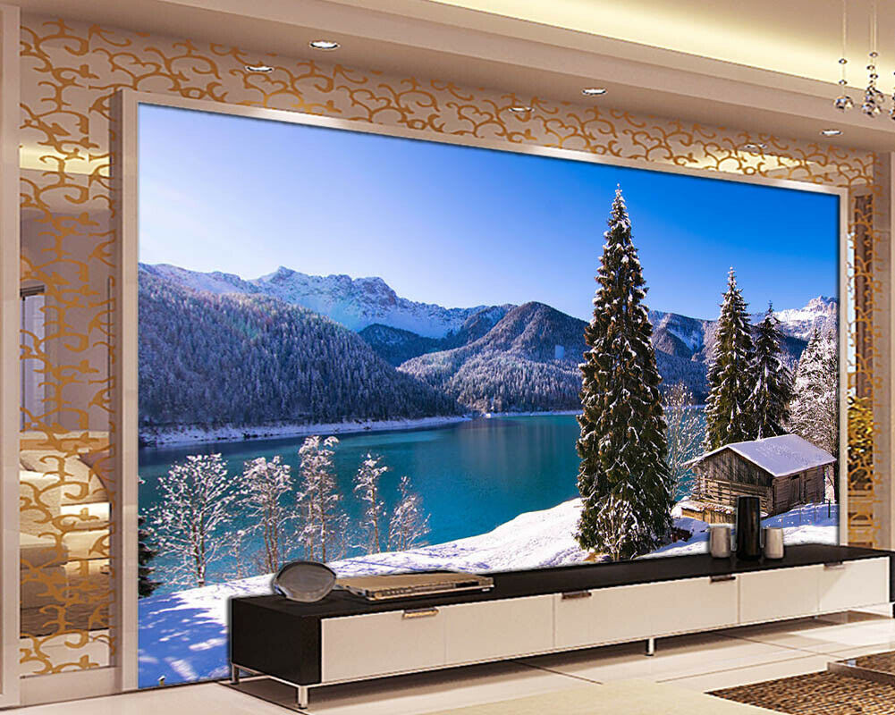 Snow Mountain Of Pine 3D Full Wall Mural Photo Wallpaper Print Home Kids Decor