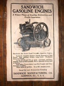 "VINTAGE REPRINT ADVERT STOVER STATIONARY GAS ENGINE 11x17/"" 283"