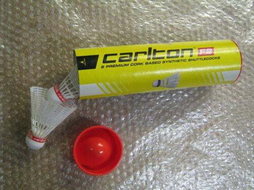6 x CARLTON F2 Red SYNTHETIC PLASTIC SHUTTLECOCKS WHITE NYLON SHUTTLES 003770