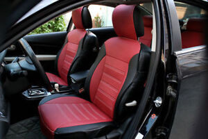 Black And Red Microfiber Upper Leather Car Seat Cover For