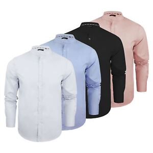 Mens-Shirt-Brave-Soul-Magnus-Plain-Grandad-Collar-Long-Sleeve-Casual-Top