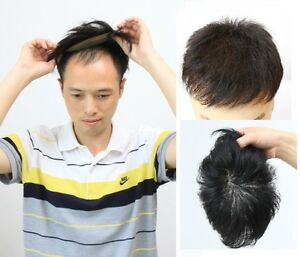 100% fine human hair mono base black toupee hair