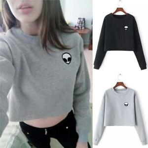 546d4adeefd242 Womens Alien Hoodie Crop Top Long Sleeve Sweatshirt Casual Jumper ...