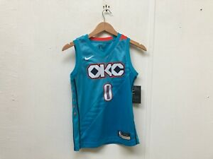 brand new de6d6 f1d1d Details about Nike Kid's NBA OKC Thunder City Jersey - 8 Years - Westbrook  0 - Blue - New