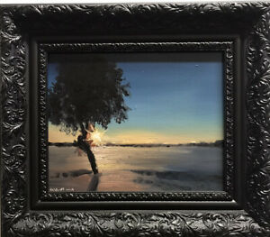 Original Oil Painting Winter Sun dänhardt Impressionism Realism incl. Frame