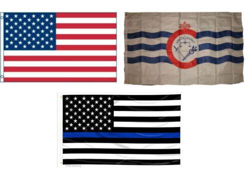 3x5 USA /& Cincinnati Ohio /& USA Police Blue Line Flag Wholesale Set 3/'x5/'