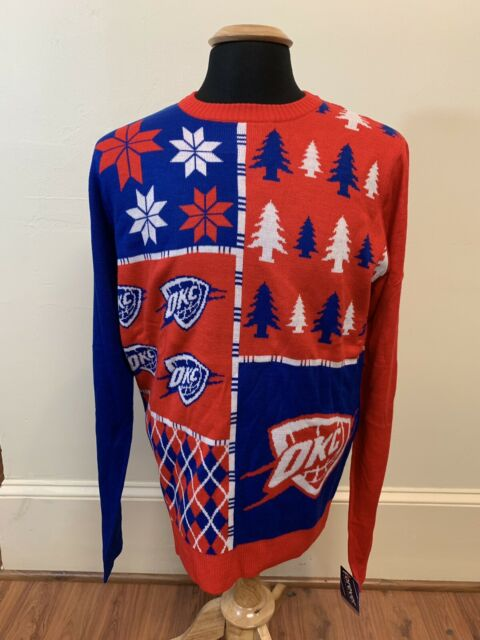 best loved be3e8 b3da2 NEW OKC Oklahoma City THUNDER Basketball UGLY CHRISTMAS SWEATER Sz Large  NBA Men