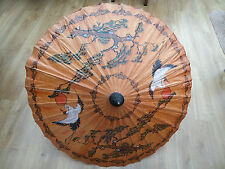 1940's  Japanese Hand Painted Bambo & Rice Paper Parasol