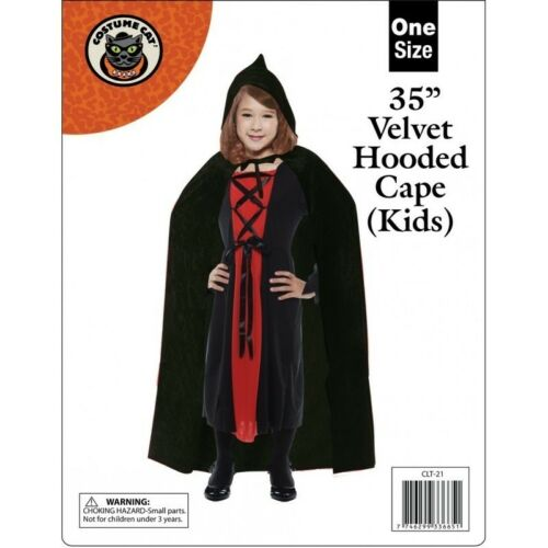 I BAMBINI KIDS CON CAPPUCCIO Mantello Nero Rosso Velluto Mantello Halloween Costume