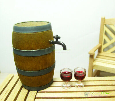 Dollhouse Miniature Beer Barrel Cask Keg /& 2 Wine Glass Cup Mug Bar Drink 1:12