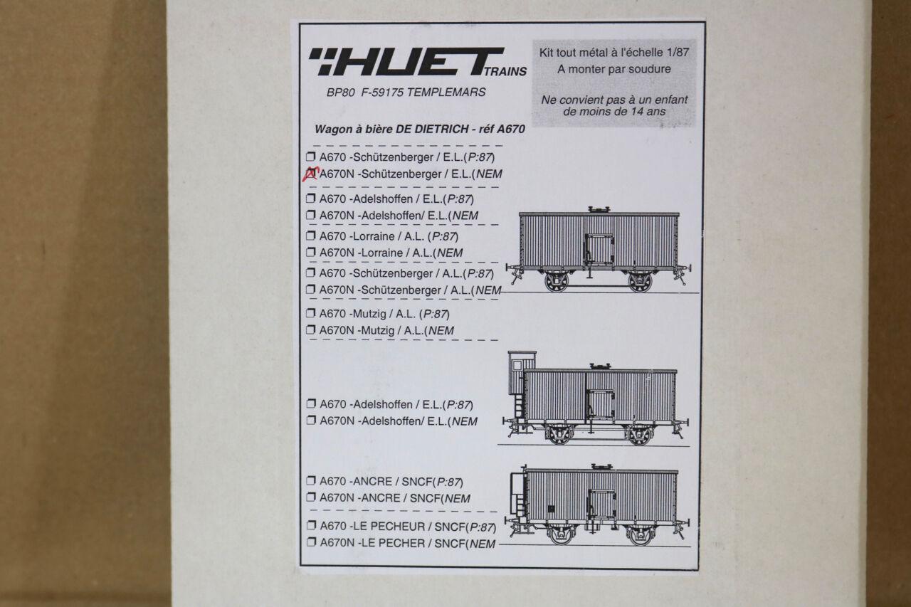 Gerard Huet Treni A670N Ho Scala Ottone SNCF Schutzenberger Bier Wagen Wagon Kit