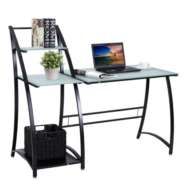 Computer Desk 3 Tier Shelf Workstation Table Office Study Corner Glass Desktop