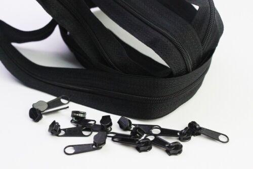 6 m Reißverschluss endlos 3mm incl 30 Zipper Farbwahl-Meterware
