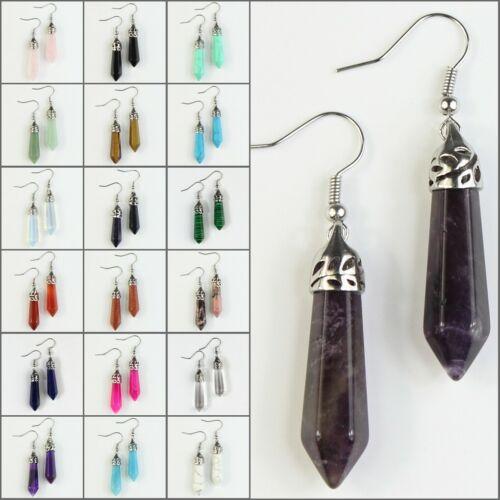 Natural Amethyst Rose Quartz Hexagonal Healing Reiki Chakra Silver Hook Earrings