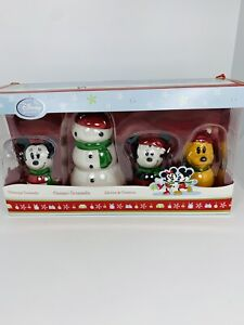 Disney-Store-MICKEY-MOUSE-MINNIE-PLUTO-SNOWMAN-CHRISTMAS-TREE-ORNAMENTS-set
