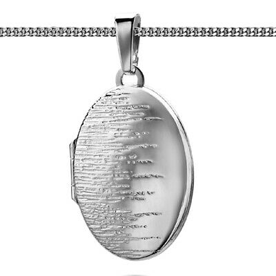 FäHig Echt Silber 925 Foto Medaillon Anhänger Für 2 Bilder Amulett Oval Silberstruktur üBereinstimmung In Farbe