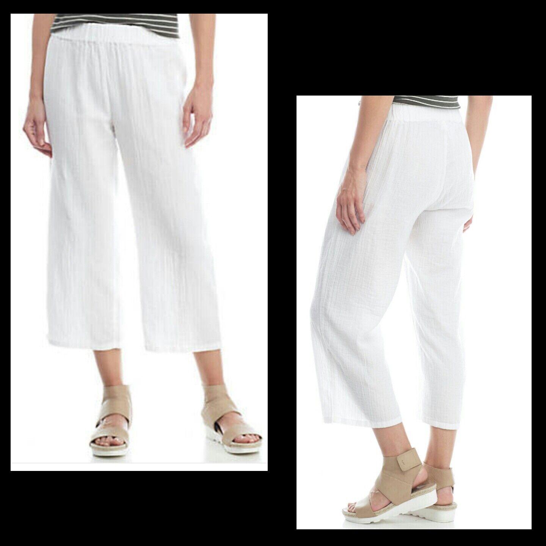 Eileen Fisher Womens Petite L White Organic Cotton Gauze Cropped Pants Casual