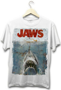 Jaws-Distressed-Design-Great-White-Shark-Scary-Movie-Amity-Fishing-White-T-Shirt