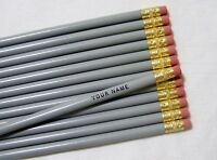 12 Round gray Personalized Pencils