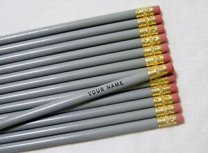 "12 Round ""Gray"" Personalized Pencils"
