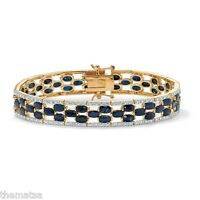 WOMENS 18K YELLOW GOLD MIDNIGHT BLUE SAPPHIRE AND DIAMOND ACCENT BRACELET