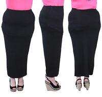 New Womens Plus Size Plain Long Ladies Stretch Elasticated Maxi Skirt 14 - 28