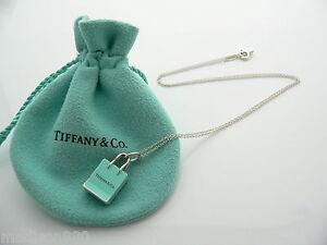 15c6adc90 Tiffany & Co Silver Blue Enamel Shopping Bag Necklace Charm Pendant ...