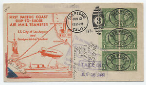 1931-Goodyear-Airship-Volunteer-ship-to-shore-airmail-cover-y2127