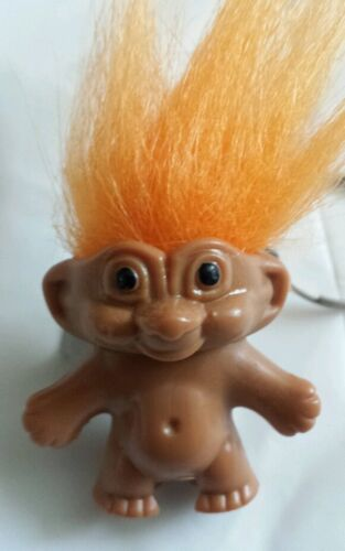 Old Fashioned Orange Lucky Troll Doll Key Ring//Pencil Topper Bring Back Memories