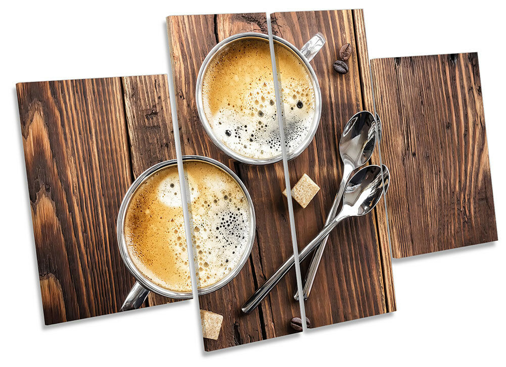 Coffee Wooden Kitchen Picture CANVAS CANVAS CANVAS WALL ART Four Panel 2c5789