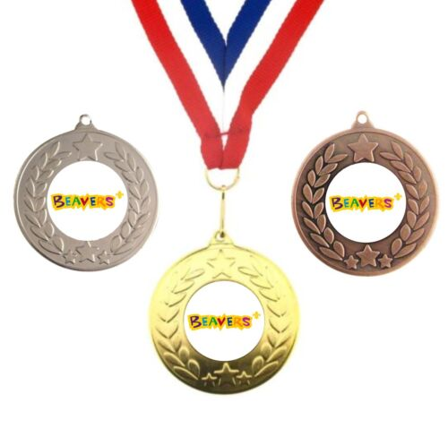 INSERTS BEAVERS SCOUT METAL MEDALS 50mm 3 PACK OPTION PACK OF 10 WITH RIBBONS