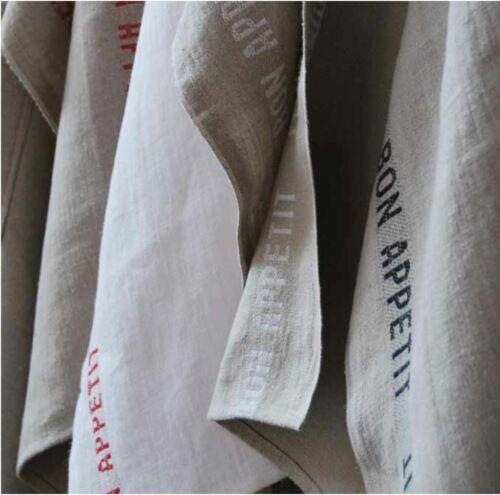 """Natural woven linen tea towel Red France. Charvet Éditions /""""Bon Appetit/"""""""