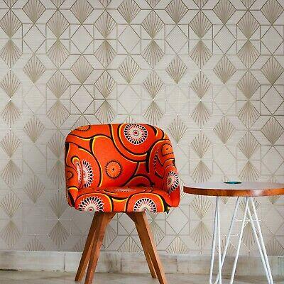 Modern Wallpaper Cream Gold Metallic Textured Geometric Diamond Triangle Lines Ebay
