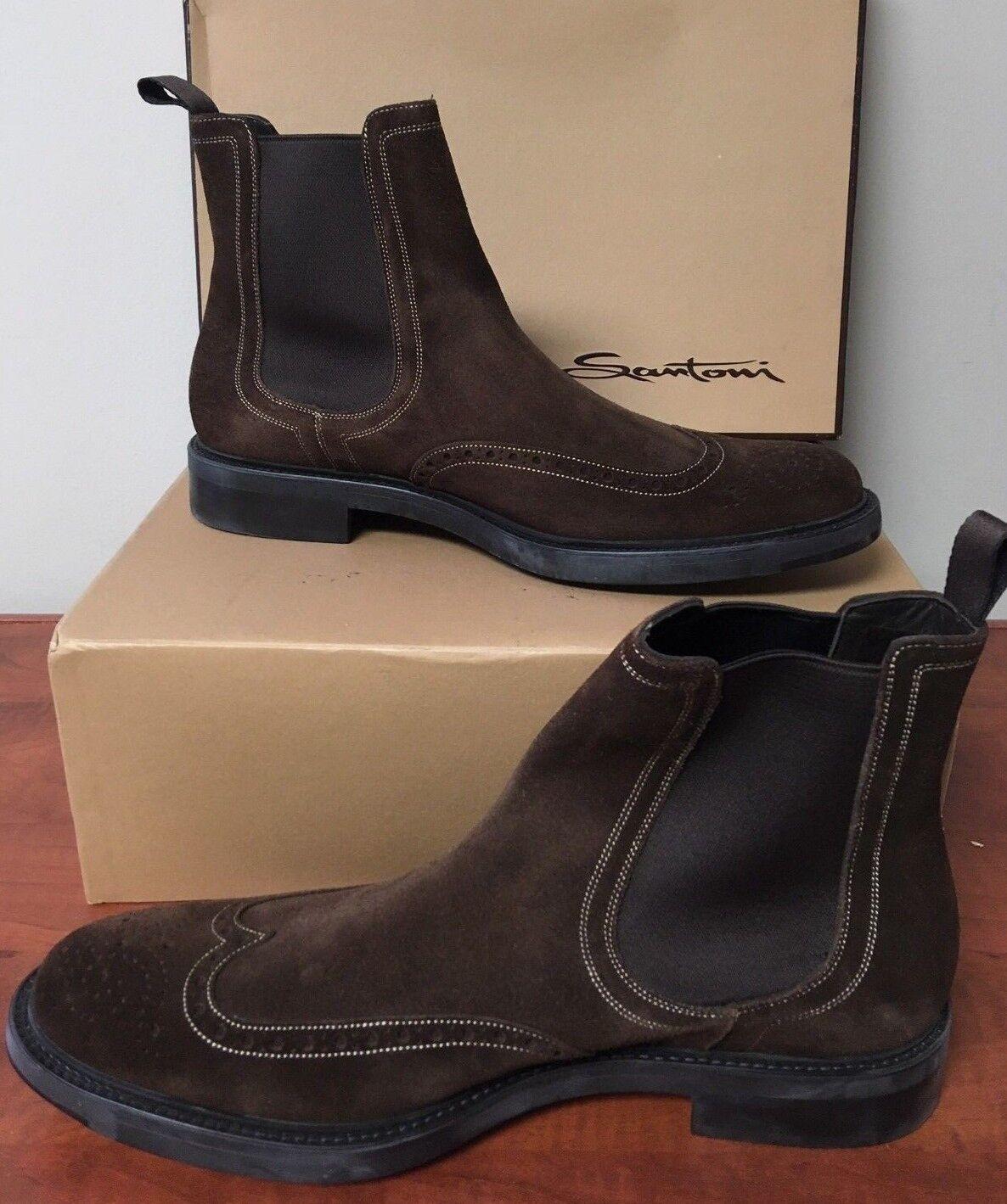 3df26a221d5 Santoni Brown Suede Brogue Boots - Men s 10 US Chelsea Size ...
