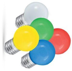Details zu 10 Stück farbige LED E27 1W Glühbirne Lichterketten 6 Farben + RGB wählbar +mehr