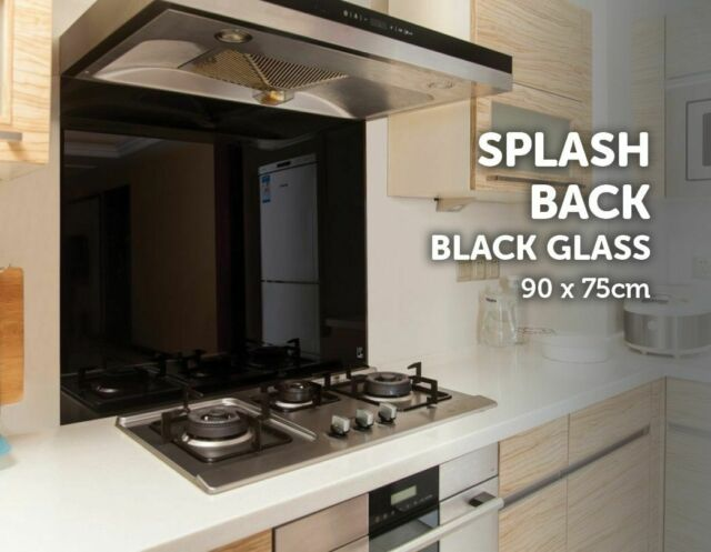Toughened 90cm x 75cm Black Glass Kitchen Splashback