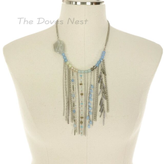 APT. 9 Women's SILVER & BLUE FRINGE NECKLACE Chains BEADS Faux CRYSTAL & STONE