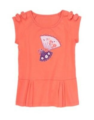 GYMBOREE CHERRY BLOSSOM CORAL FLOWER FAN BOW S/S TEE 4 7 NWT