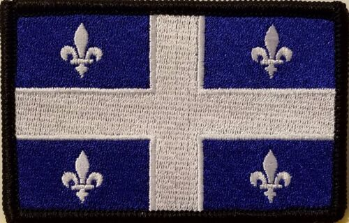 QUEBEC Flag Iron-On Patch Tactical Morale Emblem Black Border Version III