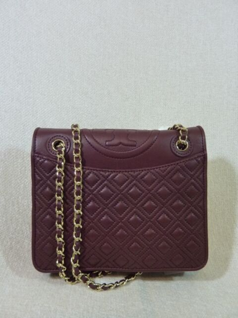 9bda5c72d3f Tory Burch Fleming Medium Quilted Chain Shoulder Bag in Deep Berry ...