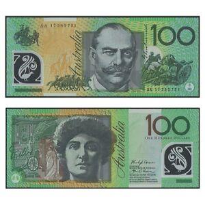 Australia 2017 $100 Polymer Banknote Lowe/Fraser AA Prefix UNC R625F Scarce