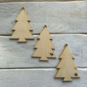 Details About 10 Pack Plywood Wooden Christmas Tree Decorations Diy Blank Tree Shapes 02